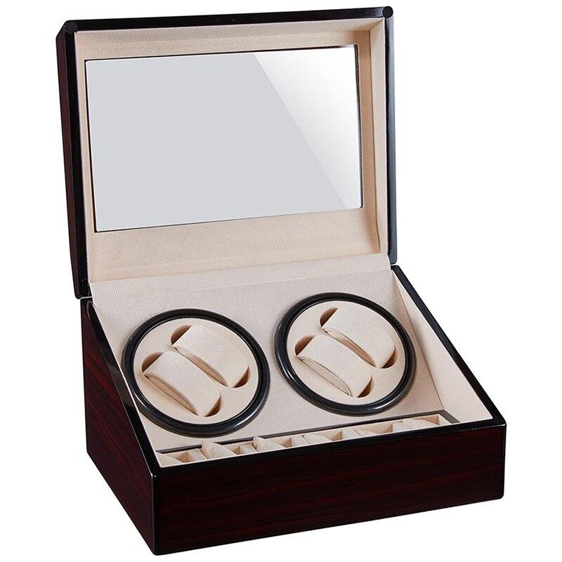 4+6 Automatic Watch Winder Box WOODEN Case Reloj Winding Motor Shaker Uhrenbeweger WOOD Watchwinder Jewellery Rotator Casket