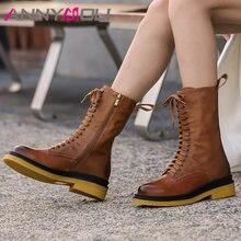 Annymoli/мотоботы женская обувь ботинки до середины икры из
