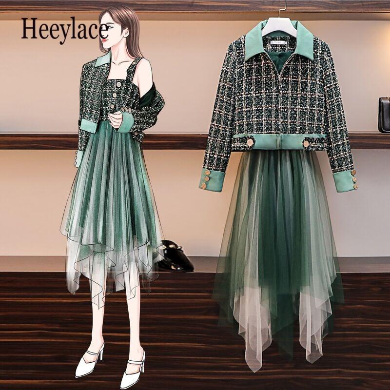 Plus Size Runway Green Plaid Tweed Short Crop Jacket+suspender Button Tweed Wool Patchwork Mesh Dress Women Winter 2 Piece Set