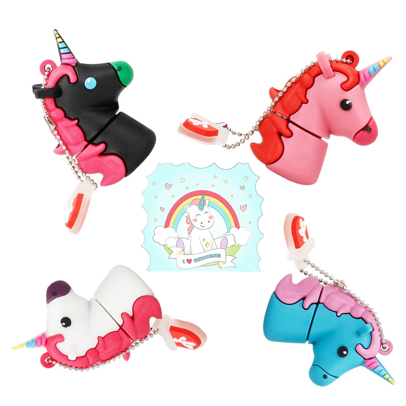 New Cartoon Unicorn Usb Flash Drive 128gb Usb 2.0 4G 8G Pendrive 16G Pen Drive 32G 64GB Cute White Horse Best Gift Free Shipping