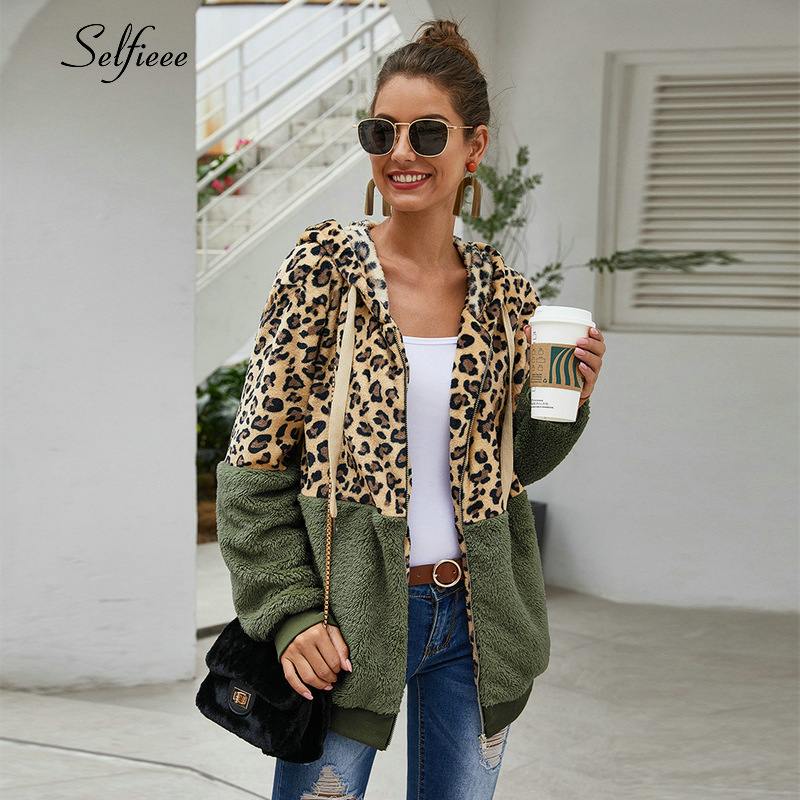 Autumn Winter Sweatshirts Women Hooded Leopard Hoodies Casual Zipper Long Sleeve Hoodie Fashion Top Warm Coat Polerones Mujer(China)