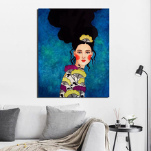 Nordic Poster Blue Background Illustration Girl Canvas Prints Wall Art Painting Decorative Picture Modern Home Decoration