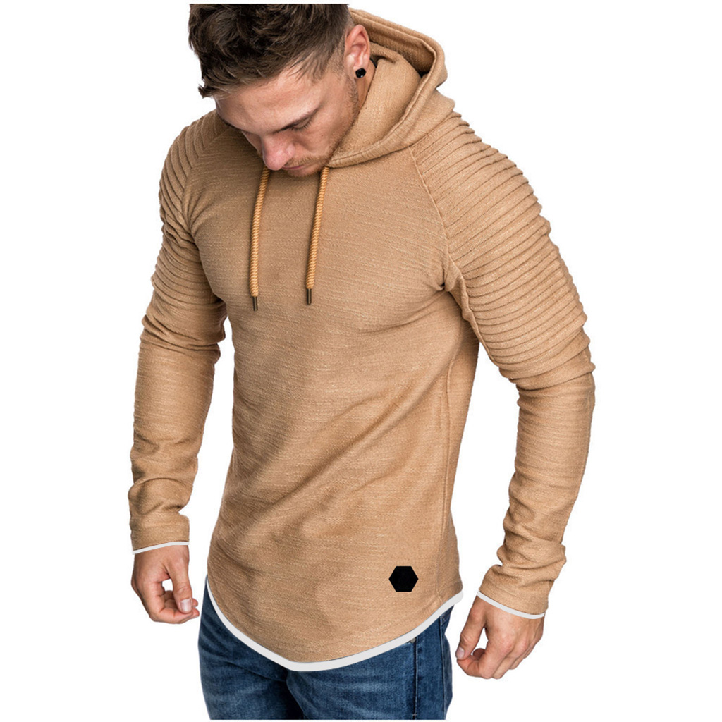 He8d6077efd854fe7b63f693f731ff2f4z Men Hoodies Sweatshirts 2019 Autumn Pleats Slim Fit Raglan Long Sleeve Hoodie Tops Men Solid Hoodie Pullover Men Outerwear Tops