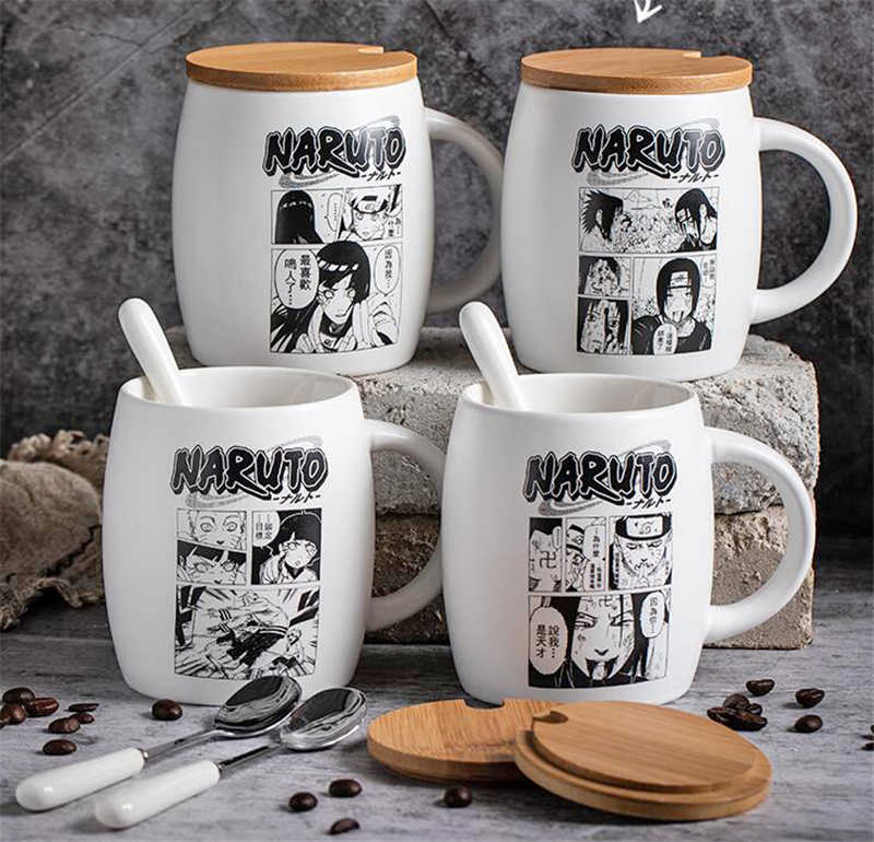 White Anime Naruto Coffee Mug Hokage Ceramic Cartoon Mugs Cup Set Cup with Cover and Spoon Girls Boys Birthday Christmas Gifts