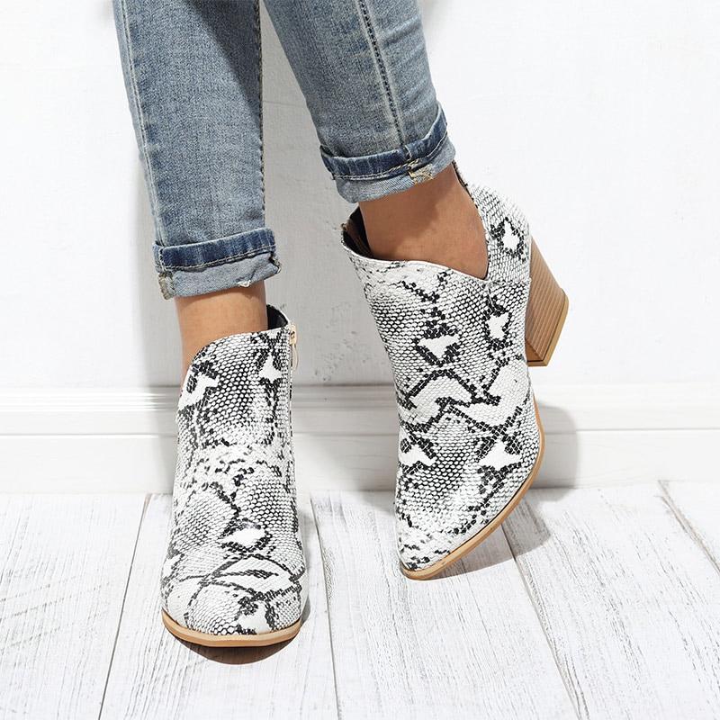 Couro do Plutônio Feminina de Salto Sapatos Femininos Outono Ankle Boots Moda 2020 Zíper Senhoras Botas Leopardo Impressão Alto Calçados Nova