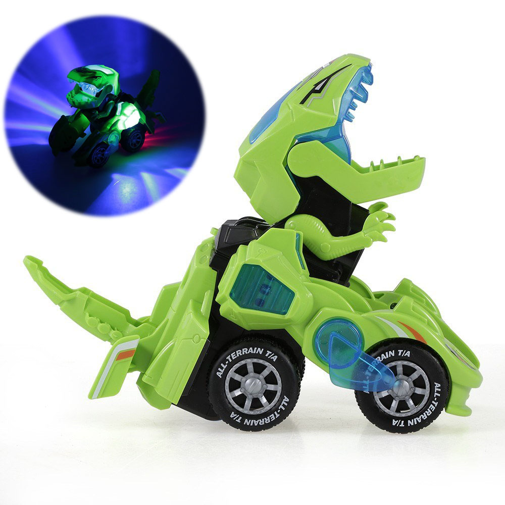 Pull Back Transformable Dinosaur Car Toys With Colored Light Bright Dinosaurs Dino Transformer Car Toy For Children