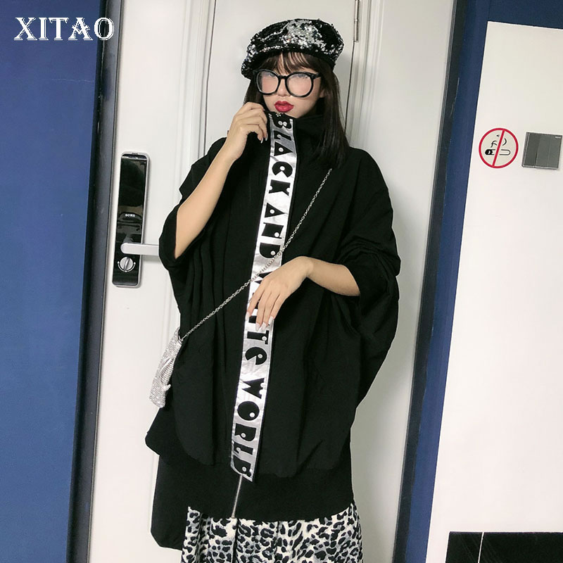 XITAO Trend Streetwear Bat Sleeve Windbreaker Fashion Plus Size   Trench   Coat Women Splice Printed Letters Top Women Autumn XJ2404