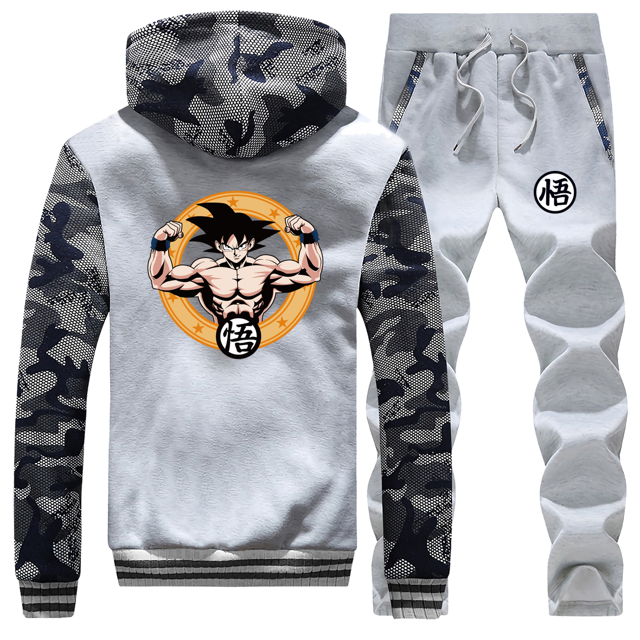 Dragon Ball Men Two Piece Sets Winter Fleece Sports Suits Mens Sweatshirts + Sweat Pants Homme Brand Clothing For Men Hoody Tops