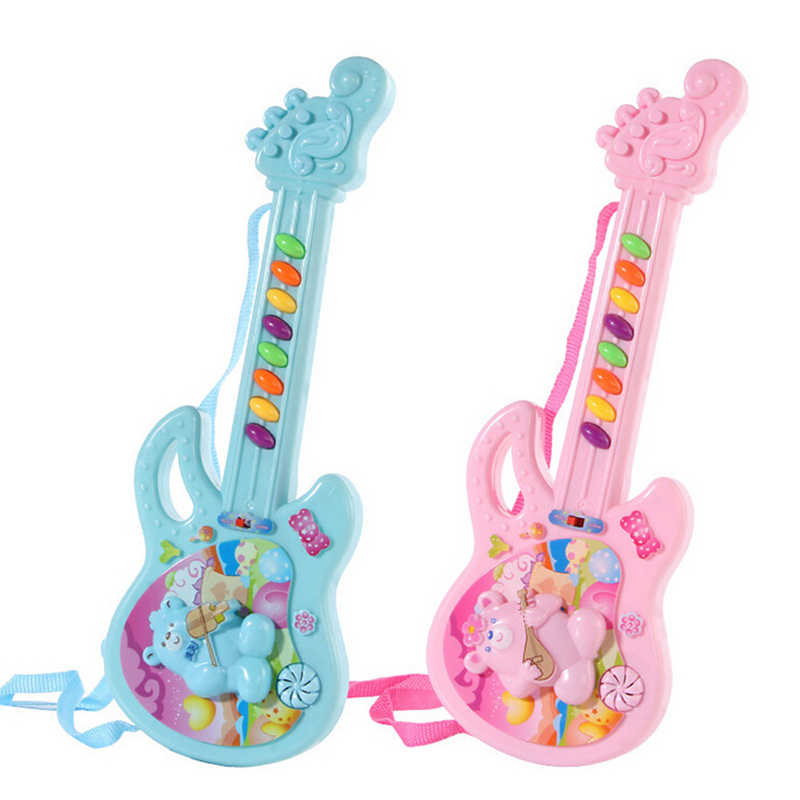 Children Musical Instrument Toy Electric Guitar Sound Light Kids Music Toy Cartoon Pattern Colorful Baby Educational Toy Gifts