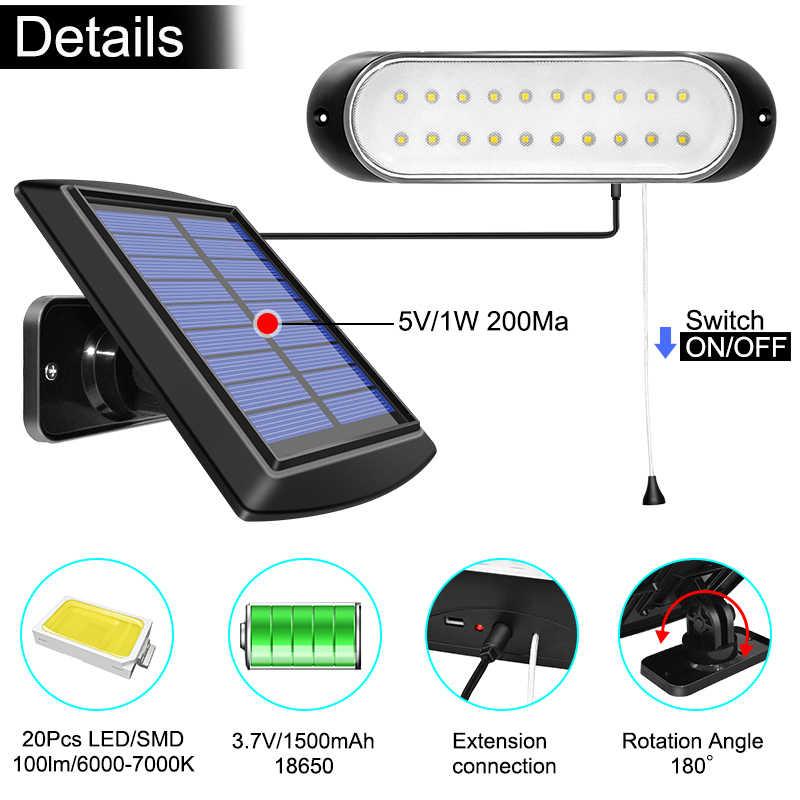 أحدث 20 led مصباح للطاقة الشمسية لوحة طاقة شمسية قابلة للفصل والضوء مع خط مقاوم للماء سحب التبديل الإضاءة المتاحة في الهواء الطلق أو في الأماكن المغلقة