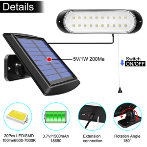 Image 4 - Najnowszy 20 led lampa słoneczna oddzielny Panel słoneczny i światło z linią wodoodporne oświetlenie Pull Switch dostępne na zewnątrz lub wewnątrz