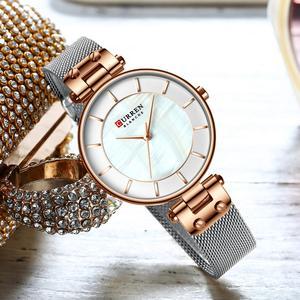 Image 4 - CURREN montre à Quartz Simple et créative en maille dacier pour femmes, nouvelle horloge, Bracelet pour dames