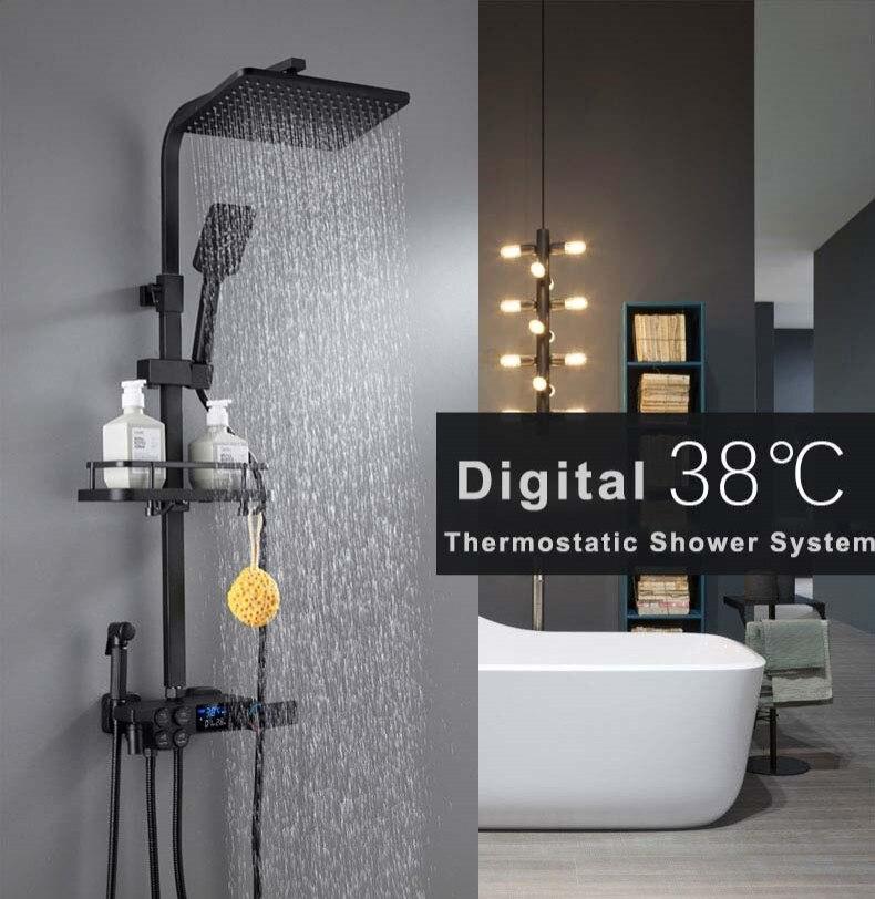 He8d69cde82b64d0cbf9c707e98450edcY Digital Shower Set Matte Black Batroom Faucet Hot Cold Bath Shower System Copper Bath Bidet Luxury Black Thermostatic Shower Set