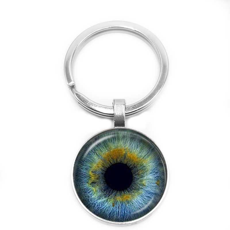 2019 ใหม่ Glamorous สีเขียวตา Evil Eyes พวงกุญแจที่สวยงามสัตว์ Chinchillas Eyes 25 มม.แก้ว Cabochon Key แหวน