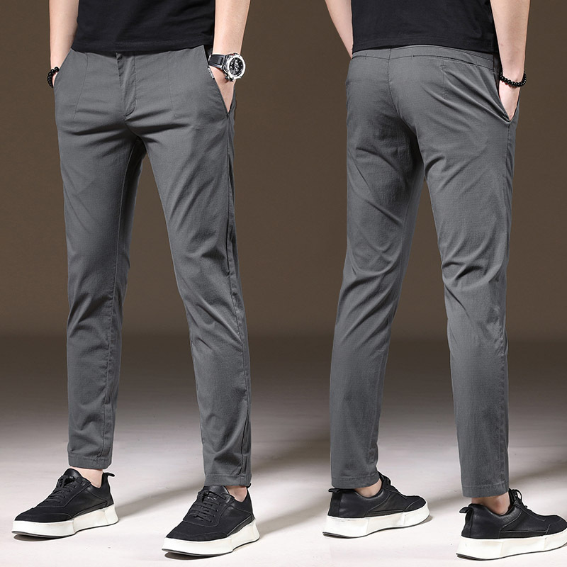 Summer New Style Casual Pants Men Skinny Elasticity Viscose Men's Trousers Youth Korean-style Trend Thin Slim Fit MEN'S Trousers