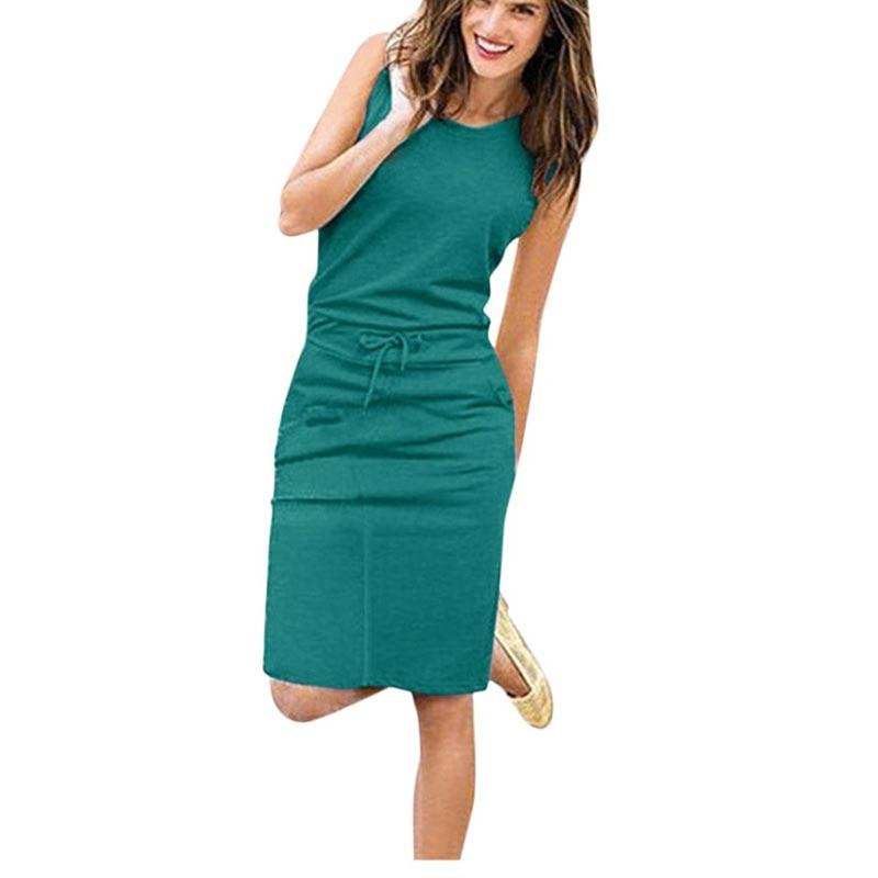 Jocoo Jolee Women Causal Sleeveless Pockets Pencil Dress 2020 Summer Solid Drawstring Waist Beach Party Sundress(China)