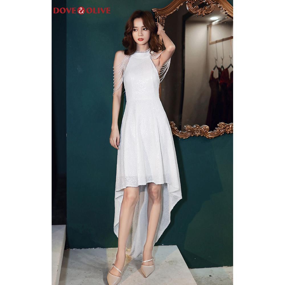 Белые платья для выпускного вечера расшитые блестками с блестящими