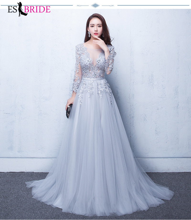 Grey Lace Chiffon Evening Dresses Long A-line Fashion Dress Elegant Party Gowns Vestidos Festa ES1270
