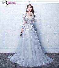 Grey Lace Chiffon Evening Dresses Long A-line Fashion Dress Elegant Party Gowns Vestidos Festa ES1270