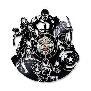 Мстители настенные часы современный дизайн Marvel Железный человек и Капитан Америка и Тор виниловые часы-пластинка светодиодный настенный д...
