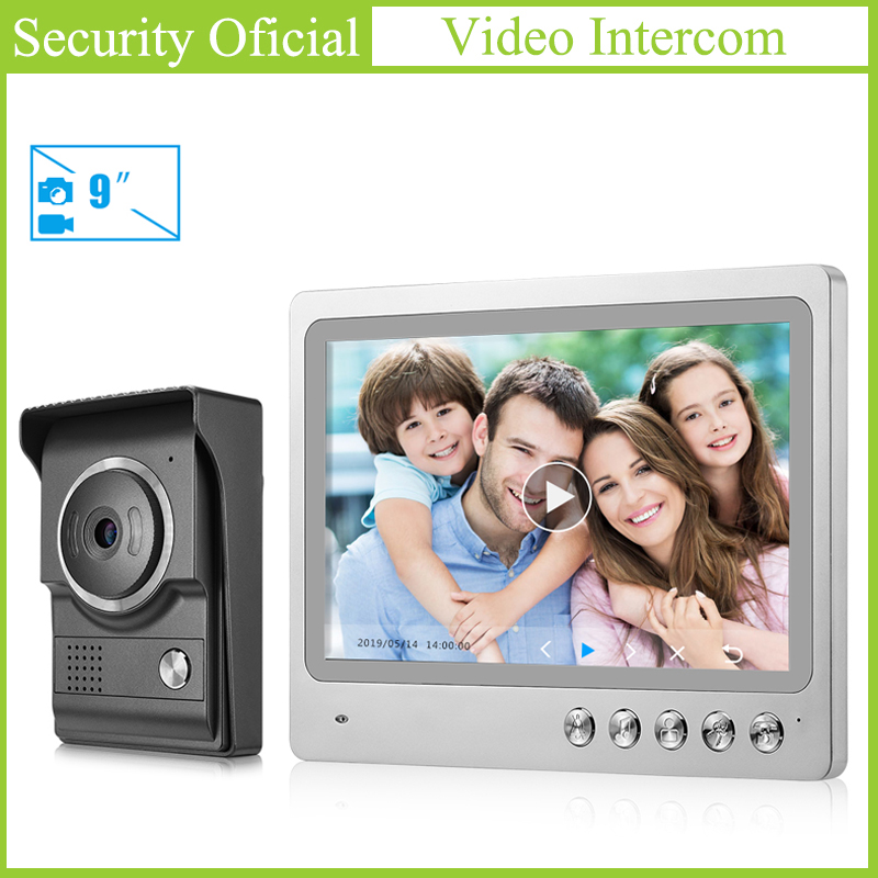 Hands-free 9 Inches TFT LCD Color Touch Screen Home Security Video Intercom System Wired Night Vision Camera Door Bell For Villa