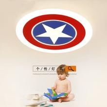 modern LED ceiling lights remote control round fixture decorate children Baby kids bedroom Designer lamp Captain America