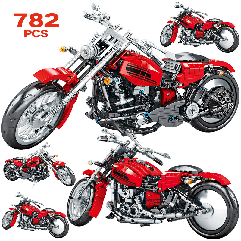 799PCS City Moto Racing Motorbike Model Building Blocks Technic Creator Motorcycle Vehicles Bricks Toys For Boys Gifts