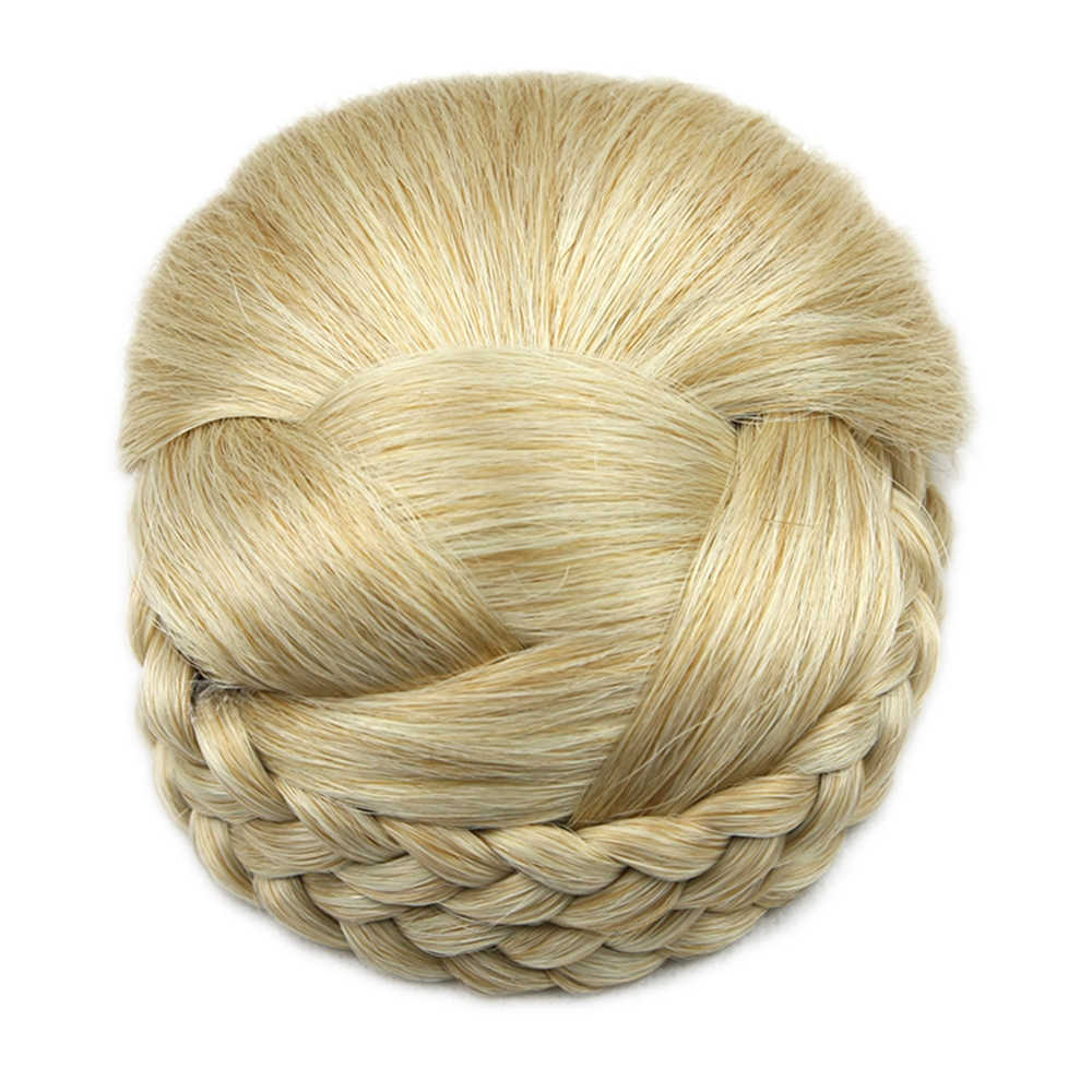 Soowee 6 Colors Knitted Braided Hair Clips In Chignon Synthetic Hair Donut Fake Hair Bun Headwear Hair Accessories for Women