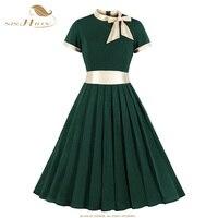 SISHION 2019 Elegant Short Sleeve Dresses Robe Party Rockabilly Casual Retro Dress 60 50s s Vintage Women Clothing SP0370