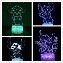 Disney dos desenhos animados 3d lâmpada lilo & stitch led night light 3d ilusão lâmpada decoração do quarto lampara colorido lâmpada de mesa presentes da criança