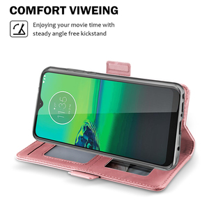 Image 4 - Pour Motorola Moto G8 Play Moto G8 Plus étui en cuir support à rabat portefeuille avec couvercle miroir pour Motorola Moto E6 jouer étui fente pour carte