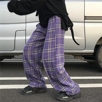 Purple Plaid trousers  1