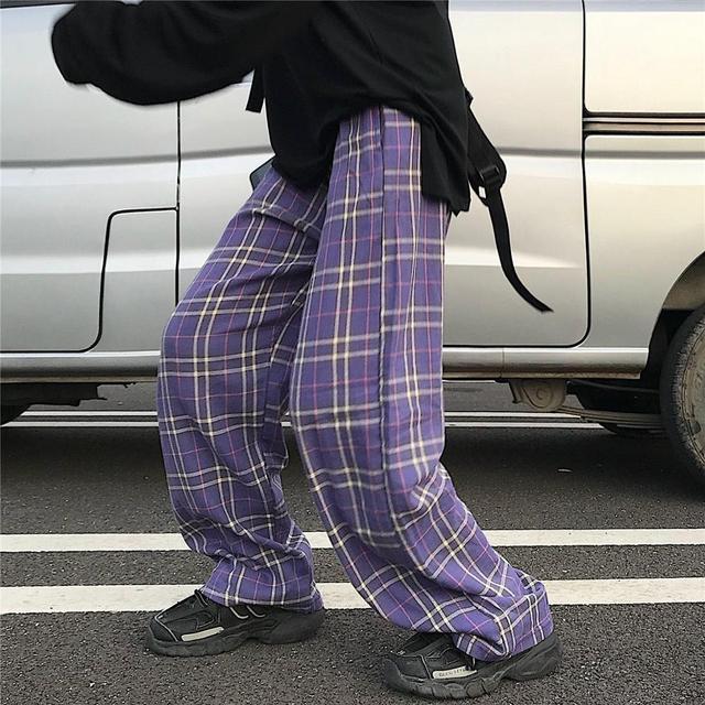 Purple Plaid trousers  1