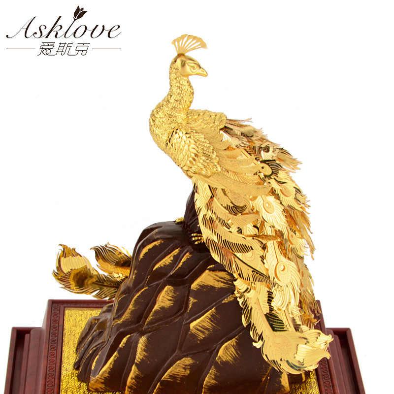 Oro Fenice Nozze decorazione Feng shui Fortunato Regali Raccogliere Ricchezza Stagnola di Oro Ornamenti Artigianato Pavone Fortunato Mestieri della decorazione della Casa