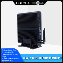 Eglobal 10th Gen Mini Pc Computer Intel I7-10710U 6 Core 2 * DDR4 M.2 Ssd 2 * Lans 4K htpc Windows 10 Linux 8 * Usb Type C Hdmi Dp Wifi