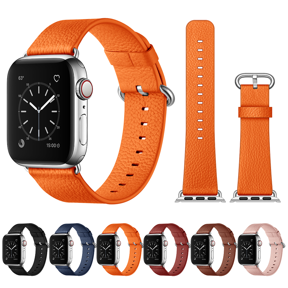 Lichee Pattern Clemence Leather Strap For Apple Watch Band 44mm 40mm 42mm 38mm Premiu Leather Watchband For IWatch Series 4 3 2