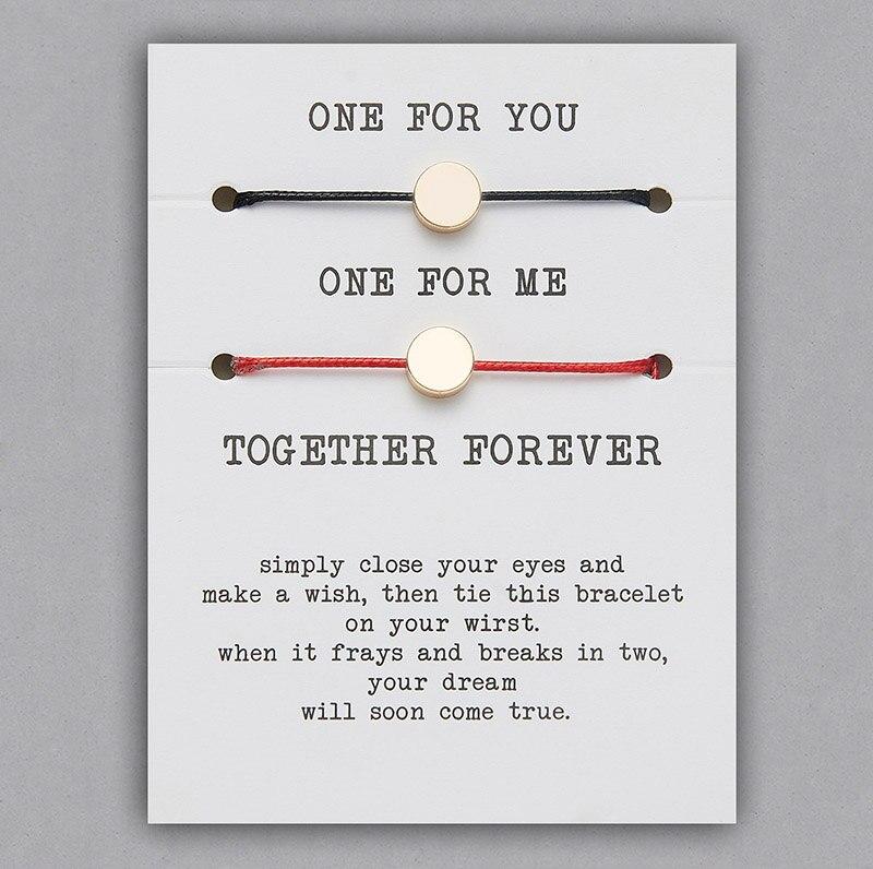 2 шт./компл. Сердце Звезда браслеты с крестообразной подвеской один для вас один для меня красная веревка плетение пара браслет для мужчин женщин карточка пожеланий - Окраска металла: BR18Y0716-1