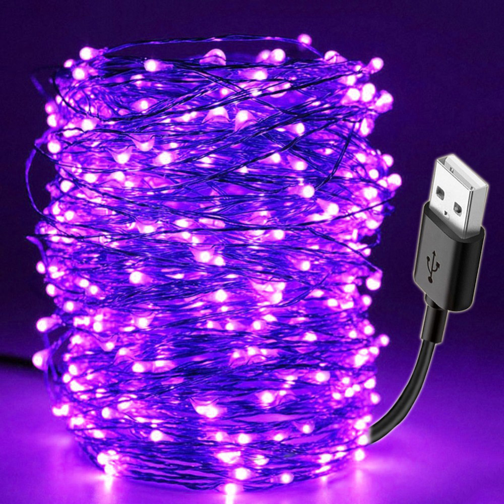 10M 100LEDs Purple LED String Light USB Light Lamp Home Christmas Wedding Party Decoration