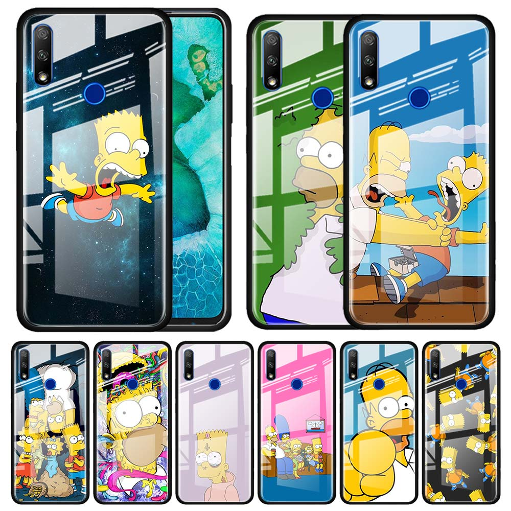Tempered Glass Case For Huawei Y6 Y7 Y9 Prime 2019 Honor 20 10 Lite 30S 8X 9X Pro View 30 Funda Capa The Simpsons