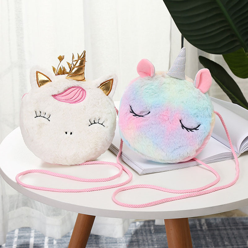 New Fashion Children Girls Shoulder Bag Cute Unicorn Animals Messenger Bag Kids Keys Coin Purse Cute Princess Mini Handbag