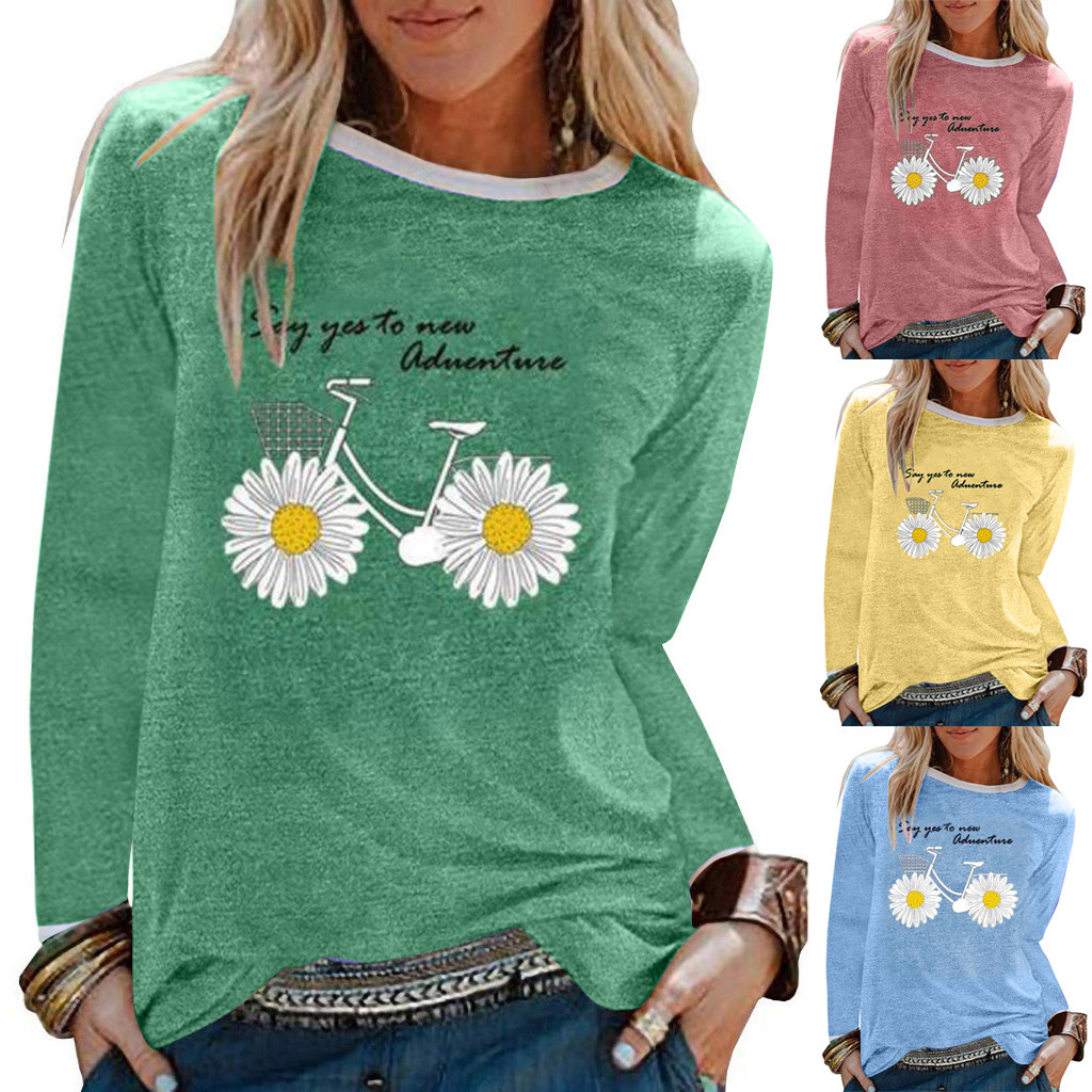 Женская футболка с длинным рукавом и принтом маргариток, Повседневная футболка с длинным рукавом, женская футболка