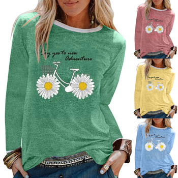 Oversized graphic tees shirt women Daisy Printing Long Sleeves T-Shirt Casual Tops
