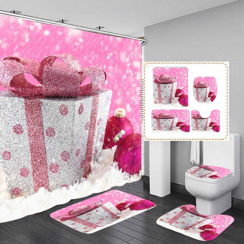 Christmas Snow Printing Waterproof Bathroom Shower Curtain Toilet Cover Mat