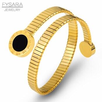 Brazalete de la parte superior del brazo de la serpiente con personalidad de FYSARA, brazalete, brazalete, joyería de Número Romano, pulseras de acero inoxidable para mujer