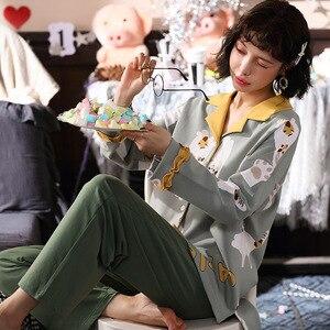 Image 5 - Sonbahar kış yeni ev giyim uzun kollu pamuklu pijama rahat uyku seti 2 adet gecelik pijama pijama takım elbise sevimli ev tekstili