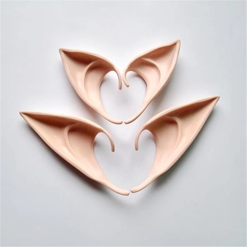 1Pair Angel Elf Ears Fairy Cosplay Accessories Halloween Christmas Party Latex Soft Pointed Tips False Ears 12cm 10cm Props