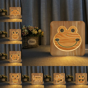 3D светодиодный деревянный ночник с лягушкой, лисой, медведем, Кроликом, USB, для детей