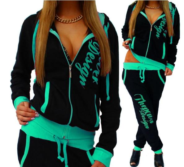 2020 New Fashion 2 Piece Set Women Long Sleeve Zipper Hat Suit Slim Pants Solid Color Leisure Sports Women Pants Set L
