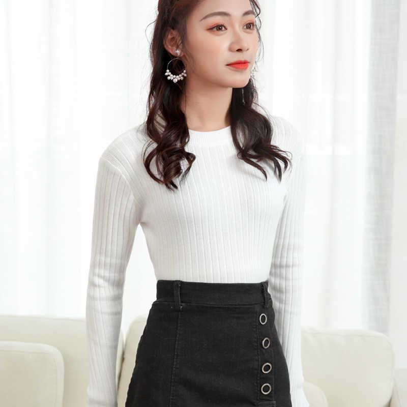 LHZSYY 2019 가을 겨울 새로운 여성 니트 슬림 Bottoming 셔츠 O 넥 스웨터 솔리드 컬러 짧은 꽉 따뜻한 풀오버 여성