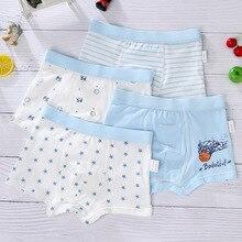 Boys Underwear Panties Shorts Teenage Boxerssoft Baby Kids Cartoon Cotton 4pcs Snowman